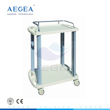 AG-LPT005A ABS 2 layer hospital instrument service utility carts plastic trolley