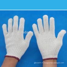 Gants de travail tricotés en coton blanc naturel à 7 calibres -700 grammes