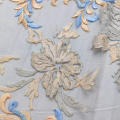 Orange Blue Flat Lace Embroidery Fabric