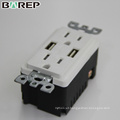 High speed dual 15A 125V socket usb charger wall outlet