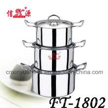6pcs poignée Double en acier inoxydable casseroles Set Pot (FT-1802)
