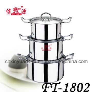 Conjunto de utensilios de cocina doble de acero inoxidable de la manija 6pcs pote (FT-1802)