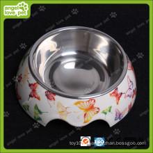 Мода Дизайн Меламин Чаша с нержавеющей стали Pet Bowl