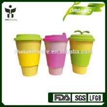 E-co verde BAMBOO FIBRA caneca de café com tampa de silicone