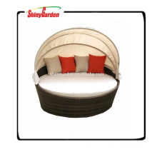 rattan round shaped outdoor lounge bed with canopy, round bed, outdoor round rattan wicker bed