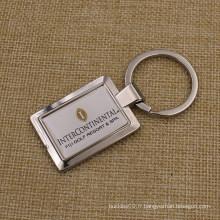 Porte-clés en métal carré personnalisé avec Sticker Dome Logo
