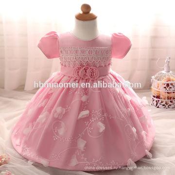 2017 новый дизайн детское платье девушки с коротким рукавом ажурные детские платья для крещения и крестильные