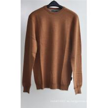 Hombres de color puro cuello redondo suéter jersey de jersey