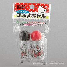 2PCS 15ml Hello Kitty em forma de cogumelo em garrafa / conjunto de garrafas de viagem