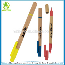 Promotional double sided pen eco friendly craft paper barrel highlighter pen