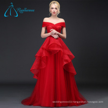 Tulle Lace Pleat Cascading Ruffle Sexy Red Wedding Dress