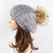 Filles de raton laveur réel POM POM câble torsadé bonnet tricoté béret bonnet (HW139)