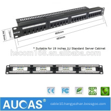 """Aucas Taiwan Imported FTP/STP Shielded 24 Port Cat6 Patch Panel 19"""" 1U For Network Cables"""