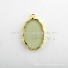 Natural Best Quality Green Amethyst Slice Gemstone Bezel Charms Station Micron Gold Plated Sterling Silver Gemstone Bezel Charm