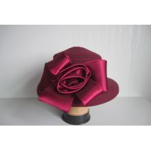 Damen Wollstoff Hüte getrimmt Satin Blume