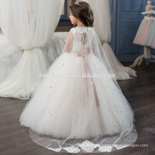 High Quality Korean Frock Designs Children White A line Long Girls Lace Dress