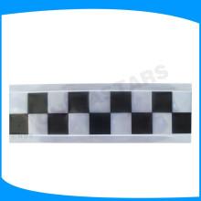 Cinta de PVC a cuadros negra, cinta de pvc impresa cuadrado verde, letras de vinilo reflectante para uniforme de alta visibilidad