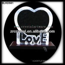 Amor de cristal em branco para gravação a laser 3D