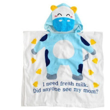 Smiling blue cattle designs bath robe white cotton bath robes