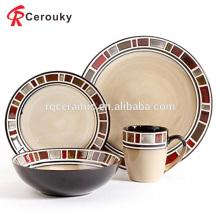 Пользовательские 8pcs античный дизайн западной керамической посуды множество