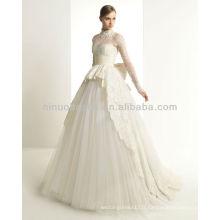 Nouveau 2014 robes de mariée bien accueillies Robe de bal à encolure à encolure à manches longues et à manches longues Mariée nuptiale vintage NB001