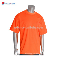 Hot Selling High Visibility Fluo Orange Safety T-shirt Full Color Breathable Short Sleeve Workwear With Customize Logo Printing
