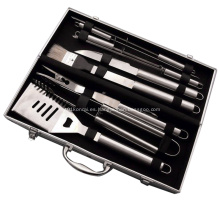 Herramientas para barbacoa de 6 piezas con estuche de aluminio