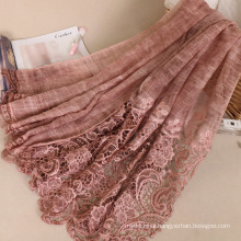 New style arrival fashion best material printed solid women cotton lace hijab scarf