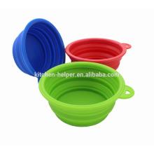 Venda quente Atacado elegante impermeável não-stick cão gato tigela colapso Silicone pet tigela / colapsável Pet Dog Cat Bowl