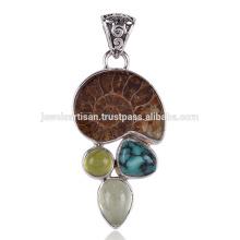 Pingente de amonite e turquesa artesanais de prata sólida no melhor preço