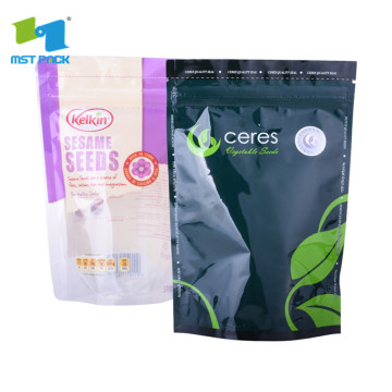 Papel Kraft 100% biodegradável Ziplock Stand Up Coffee Bag com janela