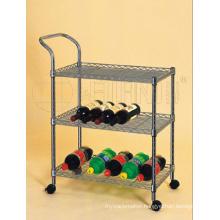 Mobile Metal Storage Wine Display Rack Shelving Trolley
