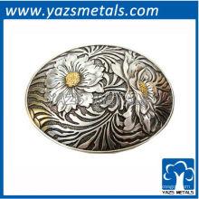 personalizar fivelas de cinto, oval de metal feito sob encomenda com fivela de cinto de flores