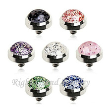 316L Surgical Stainless Steel Glitter Body Piercing Dermal Anchor Top