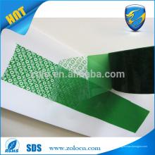 Cinta adhesiva a prueba de manipulación de la fabricación más grande de la cinta de la seguridad de China ZOLO