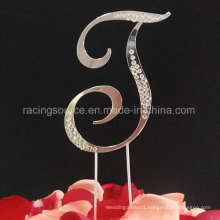 Partial Diamantee French Font Letter Wedding Cake Topper for Wedding Decoration