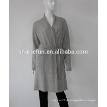 Damen gestrickte Kaschmir Bademantel Kleid Kleid China Fabrik Großhandel in 12gg 100% Kaschmir