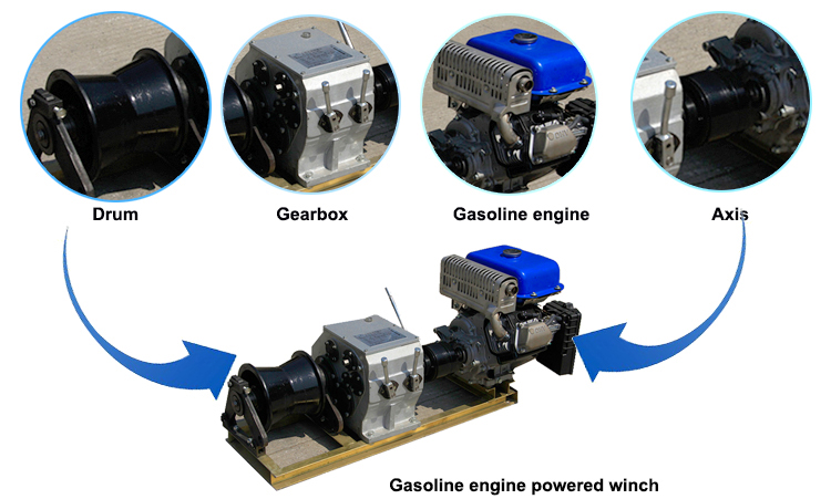 gasoline engine powered winch