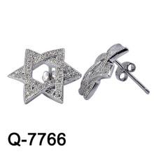 Nuevo diseño de plata de ley 925 pendiente Studs CZ blanca