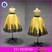 ED Bridal Beautiful High Quality Black Belt Lace Appliqued Satin Flower Girl Dress
