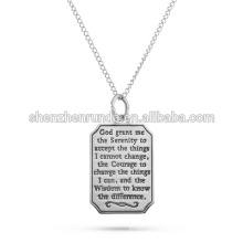 High Quality Stainless Steel Serenity Prayer Engravable Dog Tag Pendant Hope Wisdom Courage Faith