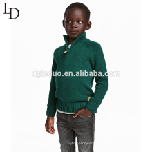 Neue Designkinder kleiden grüne Kinderpullover-hohe Ansatzjungenstrickjacke