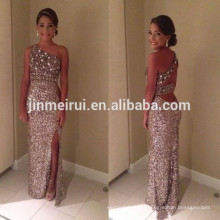 2016 One Shoulder Sparkly Glitter sheath Prom Dresses Sequins Long Sexy Crystals Backless high Front Slit evening dress gowns