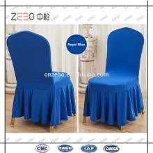 Hot Sale Hotel Used 200GSM Ruffled Royal Blue Spandex Chair Covers in Guangzhou