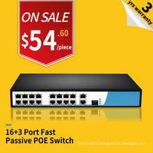 9.2G bandwidth 100M 16 ports POE and 3 uplink ethernet switch 24v passive poe injector switch