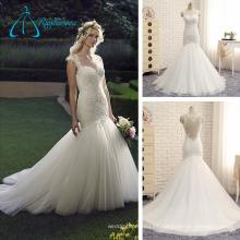 2017 Apliques de encaje rebordear patrones de vestido de boda sirena