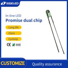 Promessa contas de lâmpada led amarelo e verde de 3 mm com chip duplo