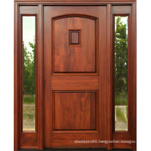 Mahogany Solid Wooden Doors with Clear Glass Side Lites (SC-1005)