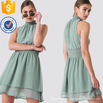 Plissado vestido de verão mini mangas de gola alta em camadas verde manufatura por atacado de moda feminina vestuário (t0289d)