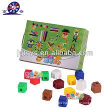 JQ1089 Nuevo estilo preescolar de plástico educativo colorido cuadrado bloques de rompecabezas